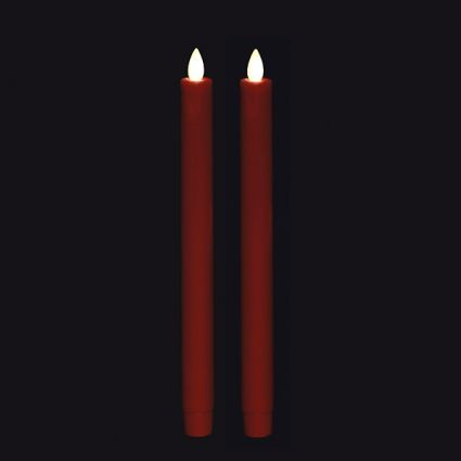 remote control 10 inch red moving flame taper candle set of 2