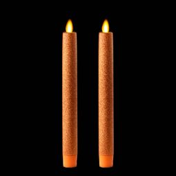 remote control 8 inch orange glitter moving flame taper candle set of 2